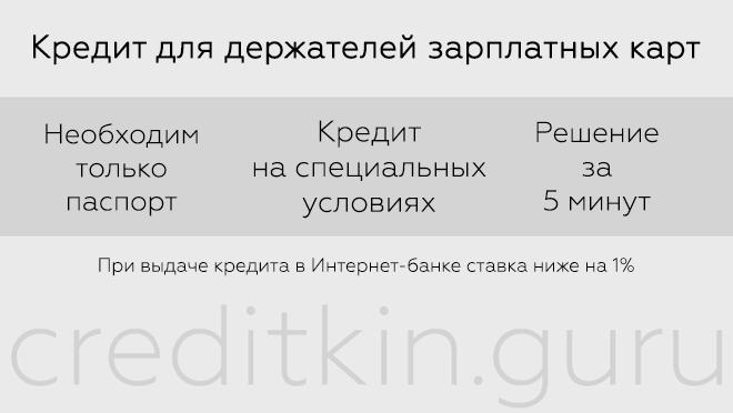 Кредиты в Промсвязьбанке для держателей зарплатных карт