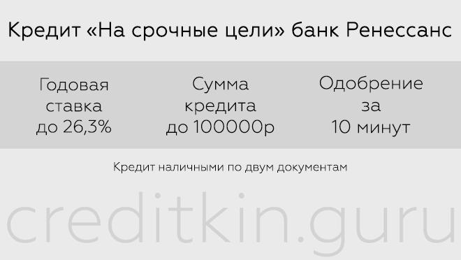 Кредиты в банке Ренессанс