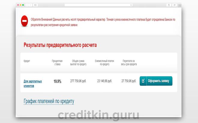 Калькулятор расчета кредита в МТС Банке