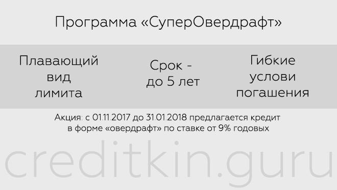 "Программ ""СуперОвердрафт"" от Промсвязьбанка"