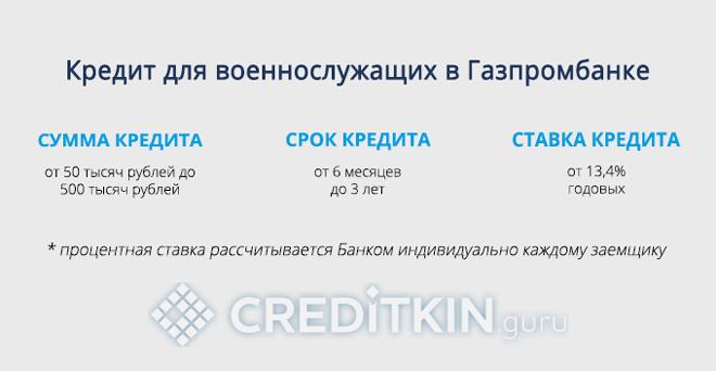 Кредит для военнослужащих в Газпромбанке