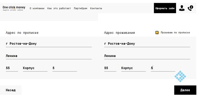 Заполнение онлайн–заявки
