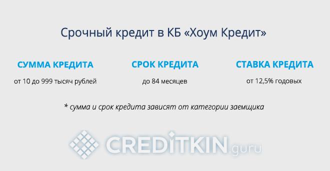 Срочный кредит в КБ «Хоум Кредит»