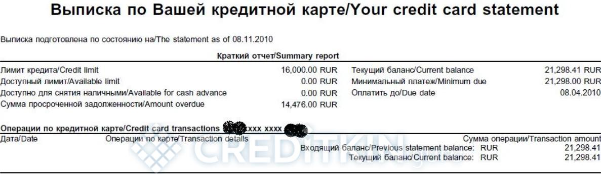 имя указанное в выписке по кредитной карте