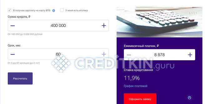 Расчет кредита от ВТБ