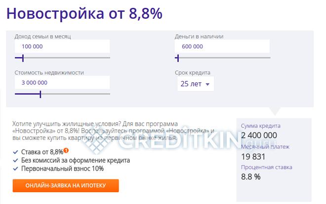 Новостройка от 8,8%